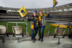 TWA-0090698 © WestPix Steve Grahame and his wife Jen at Optus Stadium. Picture: Simon Santi The West Australian