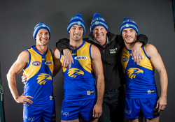 TWA-0091104 © WestPix Neale Daniher with West Coast Eagles players Mark LeCras, Shannon Hurn and Luke Shuey.  Picture: Simon Santi The West Australian