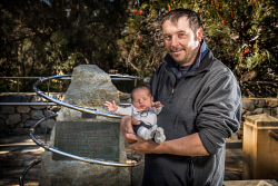 TWA-0092928 © WestPix Jordan Cameron and his son, born on the 31st of July, Jake Barry Cameron. Prisoners of War Memorial, Kings Park. Picture: Simon Santi The West Australian
