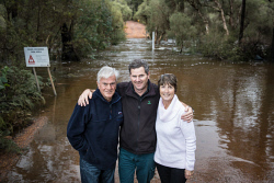 TWA-0093076 © WestPix Mark Lush (centre) is reunited with Kevin O'Meara and Debra O'Meara after he pulled them both from raging flood waters near Dwellingup on Tuesday August 7. Kevin and Debra became trapped in the flood water when they tried to cross during a hike along the Bibbulman Track. Picture: Mogens Johansen, The West Australian 9/08/2018
