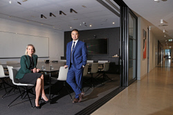 TWA-0093132 © WestPix Pitcher Partners executive director (L) Jaimie Godden and managing director Leon Mok pictured in the firm's new CBD offices at 14 The Esplanade. Picture: Megan Powell The West Australian.