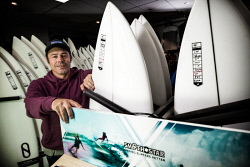 TWA-0093137 © WestPix Shark drum lines/tagging announcement of trial similar to what's used in NSW. Nick Haslau, who owns Sessions surf shop in Margaret River. Picture: Simon Santi The West Australian