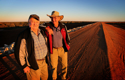 WAN-0000552 © WestPix Carnarvon Freeman, Bruce Teede (left) and grower, John Thomas happy to see the completion of the $60m levy banks to help protect their town and farms from flooding from the Gascoyne River.   13 June 2014  The West Australian  ***  ***