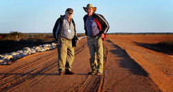 WAN-0000553 © WestPix Carnarvon Freeman, Bruce Teede (left) and grower, John Thomas happy to see the completion of the $60m levy banks to help protect their town and farms from flooding from the Gascoyne River.   13 June 2014  The West Australian  ***  ***