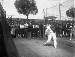 WAN-0024131 © WestPix Australian cricketer Don Bradman in the WACA nets practicing his batting. (Exact date unknown, circa 1932).