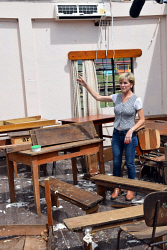 WAN-0025725 © WestPix Foreign Minister Julie Bishop inspecting a classroom destroyed by Cyclone Winston at Penang Sangam Primary School, Rakiraki, Fiji.  Pic by Andrew Tillett The West Australian