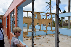 WAN-0025727 © WestPix Foreign Minister Julie Bishop inspecting a classroom destroyed by Cyclone Winston at Penang Sangam Primary School, Rakiraki, Fiji.  Pic by Andrew Tillett The West Australian