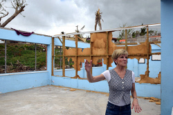 WAN-0025728 © WestPix Julie Bishop inspecting a classroom destroyed by Cyclone Winston at Penang Sangam Primary School, Rakiraki, Fiji. Pic by Andrew Tillett The West Australian