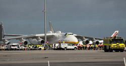 WAN-0026590 © WestPix The Antonov An-225 Mriya - the largest aircraft in the world and the only one of its type - lands at Perth Airport on Runway 21. Airport workers line up to see the big aircraft. 15 MAY 2016 Picture: Danella Bevis The West Australian