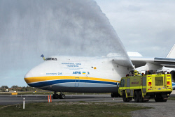 WAN-0026591 © WestPix The Antonov An-225 Mriya - the largest aircraft in the world and the only one of its type - lands at Perth Airport and receives a welcome from water cannons. 15 MAY 2016 Picture: Danella Bevis The West Australian