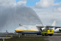 WAN-0026592 © WestPix The Antonov An-225 Mriya - the largest aircraft in the world and the only one of its type - lands at Perth Airport and receives a welcome from water cannons. 15 MAY 2016 Picture: Danella Bevis The West Australian