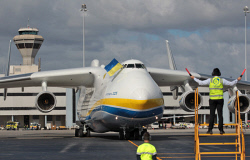 WAN-0026601 © WestPix The Antonov An-225 Mriya - the largest aircraft in the world and the only one of its type - lands at Perth Airport on Runway 21. The Antonov taxis in to park. 15 MAY 2016 Picture: Danella Bevis The West Australian