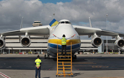 WAN-0026602 © WestPix The Antonov An-225 Mriya - the largest aircraft in the world and the only one of its type - lands at Perth Airport on Runway 21. The Antonov taxis in to park. 15 MAY 2016 Picture: Danella Bevis The West Australian