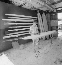 WAN-0031571 © WestPix A MAN WORKING ON A SURFBOARD AT CORDINGLEY'S SURF SHOP IN SUBIACO. 14 NOVEMBER 1964.