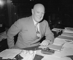WAN-0031735 © WestPix PICTURE OF PREMIER, SIR ROSS MCLARTY, WORKING AT HIS DESK. 31 DECEMBER 1952.