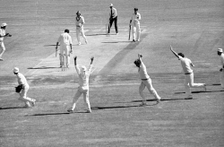 WAN-0031756 © WestPix Australia vs England. Umpire Tom Brooks, standing in a Test for the last time, watches as the bails fly as John Lever bowls Alan Hurst at the WACA Ground to put England two-up in the Ashes series. 20 December, 1978. Picture by Rod White.