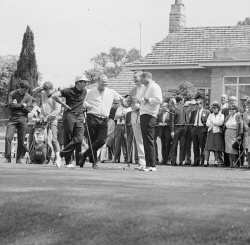 WAN-0031758 © WestPix 1968 AUSTRALIAN OPEN AT LAKE KARRINYUP. GOLF'S BIG FOUR ON THE PRACTISE GREEN. GARY PLAYER, JACK NICKLAUS, MARK MCCORMACK AND ARNOLD PALMER. 23 OCTOBER 1968.