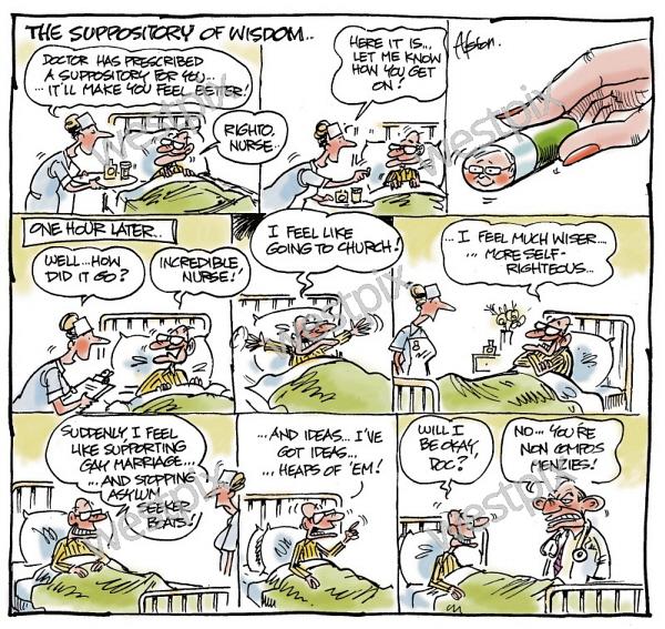 Dean Alston Cartoon The Suppository Of Wisdom Westpix