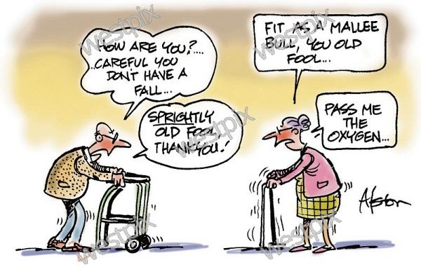 Dean Alston Cartoon Old man using walking | WestPix