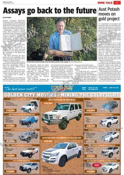 Kalgoorlie Miner article Assays go back to | WestPix