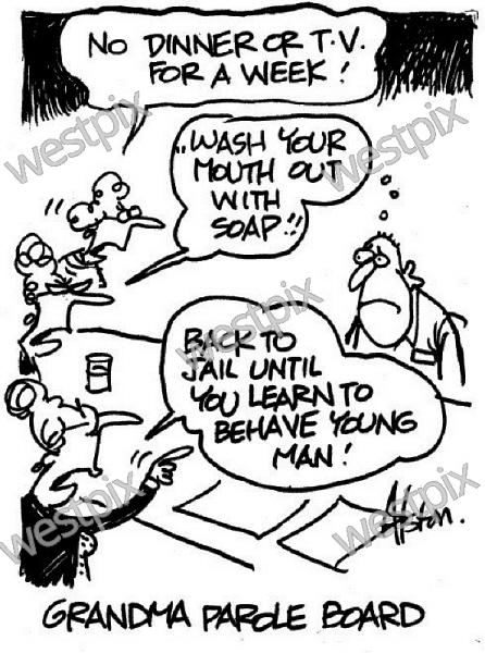 A Dean Alston Cartoon Grandma Parole Board