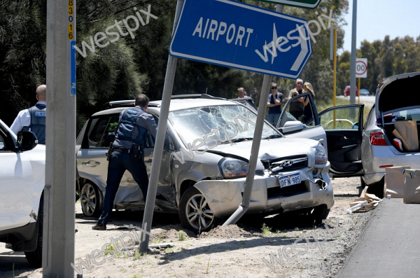 A crashed car on Tonkin Highway near the | WestPix